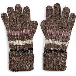 styleBREAKER cálidos guantes en diseño mezclado con doble puño y rayas, guantes de punto, unisex 09010007, color:Gris pardo-Marrón