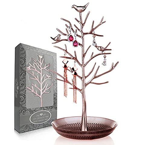 Joy Jewelry Tree | Luxurious Jewelry Stand Display Rack Tower. Size: Tall and Large (15 cm W x 33 cm H). Necklace Earring Bracelet Anklets Holder Organizer (Antique