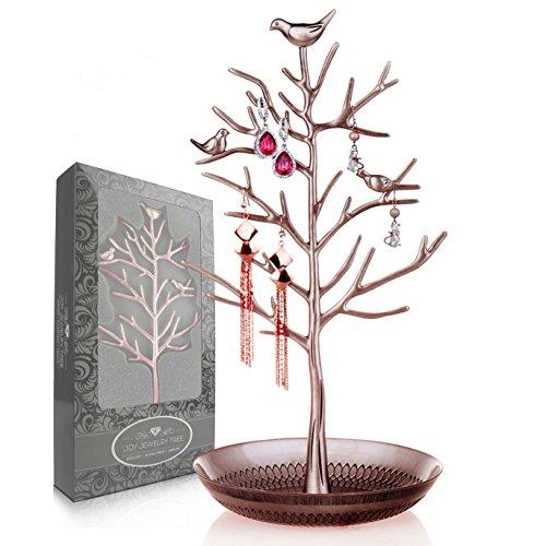 Joy Jewelry Tree | luxurious Jewelry stand display rack Tower. Dimensioni: altezza e grandi (15cm l x 33cm H). Collana orecchini braccialetto cavigliere organizer (rame antico)