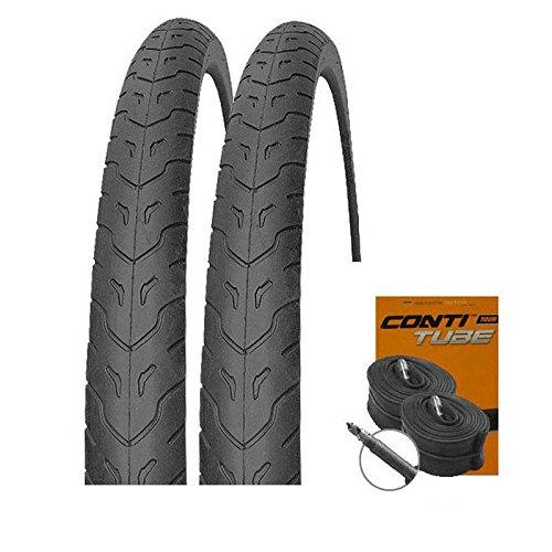 Set: 2 x MITAS Cobra MTB Slick Reifen 26x1.90 + Conti SCHLÄUCHE Rennradventil
