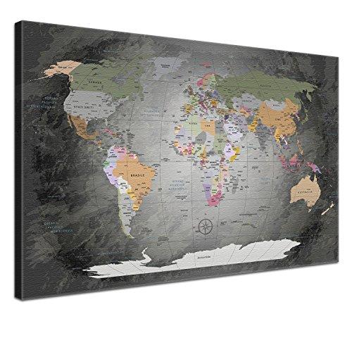 Wallart print canvas the best amazon price in savemoney lana kk toile dcorative worldmap acier gris italien sur chssis en bois gumiabroncs Choice Image