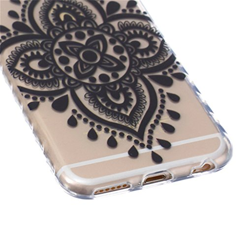 iphone 6 Coque, MYTH Doux Flexible - Coloré Parapluie Slim Silicone Ultra Mince TPU Bumper Protection Housse Pour iphone 6 / iphone 6s Noir Noeud Chinois
