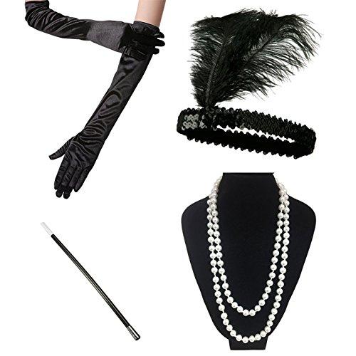 Ilovecos roaring 20s costumi charleston 1920 accessori set costume della falda per le donne (a)