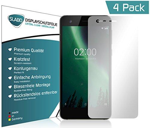 Slabo 4 x Bildschirmschutzfolie für Nokia 7 Plus Bildschirmfolie Schutzfolie Folie Zubehör (verkleinerte Folien, aufgr& der Wölbung des Bildschirms) Crystal Clear KLAR - unsichtbar Made IN Germany