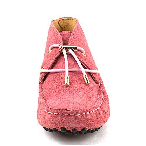 Shenduo Scarpe Donna - Mocassini Donna di pelle scamosciata con lacci loafers scarpe casual D7258 rosa-2