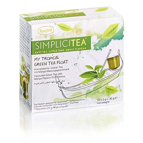 Ronnefeldt SimpliciTea My Tropical Green Tea Float, Aromatisierter Grüner Tee mit Mango-Maracujageschmack, (10 Teekapseln à 3 g)