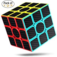 cfmour Rubiks Cube Speed Cube 3x3 (Pack of 1,2,3), Rubix Cube Speed Rubiks Cube Carbon Fiber Sticker Smooth Magic Cube, Enhanced Version, 5.7cm Black