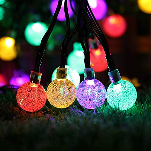 Solar Lichterkette Aussen 40 LED Kugeln Lichterkette 7.5M Kristall Bunt, DeepDream 8 Modi Außenlichterkette Wasserdicht für Garten Terrasse Bäume Hof Haus Party Deko [Energieklasse A+++]