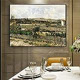 RTCKF Torre del Giardino mediterraneo pianta Verde Paesaggio Pittura su Tela Poster da Parete Immagine per Soggiorno Decorazione (Senza Cornice) A2 60x90CM