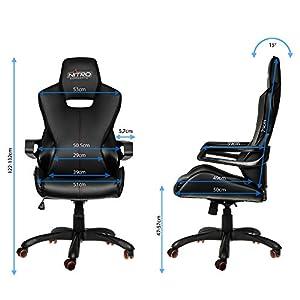 Nitro Concepts E200 Race Silla de Juego – Oficina – Cuero sintético – Acolchado de Espuma fría – 120 kg – Diseño de Asiento de Carreras – Negro/Carbon