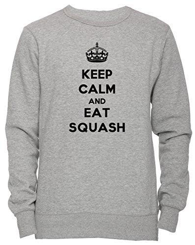 Keep Calm And Eat Squash Unisex Herren Damen Jumper Sweatshirt Pullover Grau Größe S Men's Women's Grey Small Size S