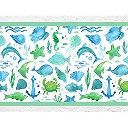 """'I Love de pared adhesivo B de 10025habitación de los Niños cenefa """"Bajo el agua Mundo peces Tortugas Mar Niños pared decoración Talla:Höhe: 15 cm; Breite: 5 m"""