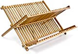 Relaxdays 2-Tier Bamboo Foldable Dish Rack