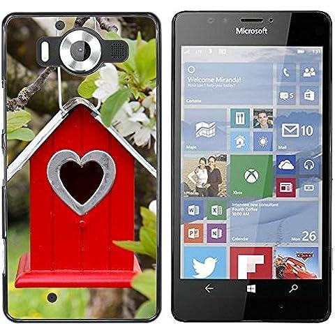NOKIA Lumia 950 , Cassa Cover Guscio Di Plastica (Albero Fiori ramo Birdhouse Parallax)