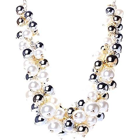 Fatti A Mano Perla Pendente Catena Bavaglino Nobile Collana Di Cluster Donne Eleganti - Perla Pendente Cluster