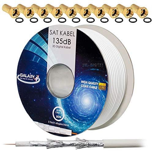 135dB 50m HB DIGITAL Koaxial SAT Kabel 5-Fach geschirmt für Ultra HD 4K DVB-S / S2 DVB-C und DVB-T BK Anlagen + 10 vergoldete F-Stecker Set Gratis dazu 50 Tv Kabel