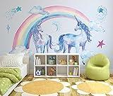 Keshj Kinderzimmer Hintergrund 3D Wallpaper Wandbilder Niedlich Schönen Regenbogen Einhorn Tapete Wohnzimmer-120Cmx100Cm