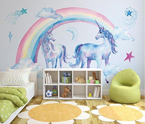Keshj Kinderzimmer Hintergrund 3D Wallpaper Wandbilder Niedlich Schönen Regenbogen Einhorn Tapete...