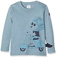 Polarn O. Pyret Boy's Lion Print Long Sleeve Top, Blue (Blue Melange), 4 Years (Manufacturer Size:4-6 Years)