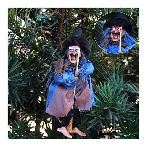 (Mangotree Halloween Hexe Geist Hängende Dekoration Requisiten Schütteln Ghost Blendendes Spielzeug Stimmenkontrolle Scary Sensenmann für KTV Bar Haunted House (Einheitsgröße, Zufällige Farbe))
