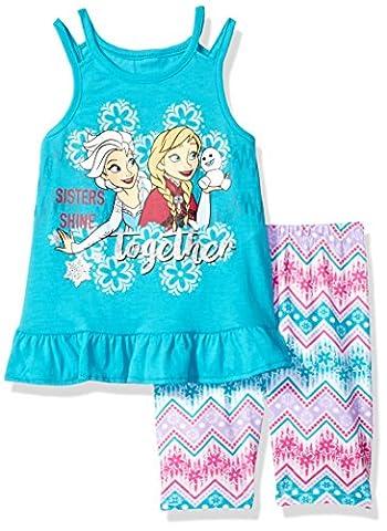 Disney Little Girls' 2 Piece Frozen Bike Short Set, Turquoise, 6