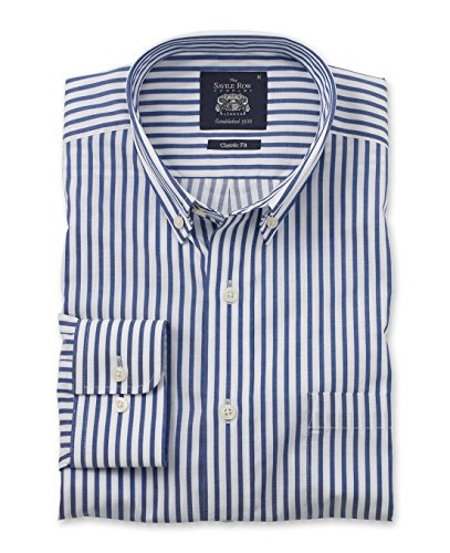 Savile Row Men's Navy White Twill Bengal Stripe Smart-Casual Classic Fit Single Cuff Shirt Navy White