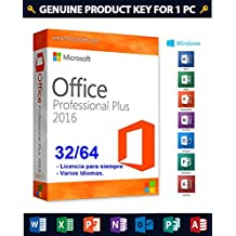 Office 2016 Professional Plus | Clave de producto y enlace de descarga | Enviado por EMAIL | Compatible Windows 10, Windows 8.1, Windows 7