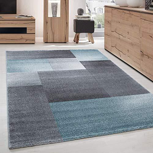 Teppich Modern Designer kurzflor Wohnzimmer Karo Block Muster Grau Blau Weiß - 160x230 cm -