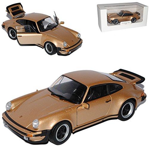 Turbo Porsche 911 Modell (Porsche 911 G-Modell Turbo Gold Beige Coupe 1973-1989 1/24 Welly Modell Auto mit individiuellem Wunschkennzeichen)