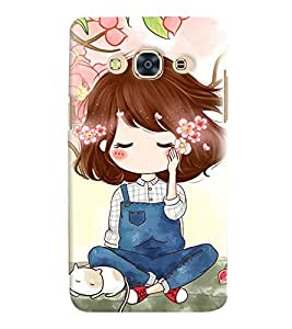 Printvisa Cute Girl Sitting Under A Tree Back Case Cover for Samsung Galaxy J3 Pro