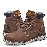 Mishansha Herren Stiefel Warm Gefütterte Schneestiefel Wanderschuhe Wasserdicht rutschfeste Winter Boots für Outdoor Braun 44
