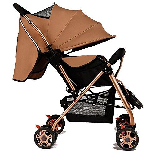 Los niños bebés pueden sentarse pueden montar carruajes para bebés, parabrisas ultra-ligero portátil plegable de dos vías de alta vista, carros de bebé, carrito de los niños ( Color : Khaki )