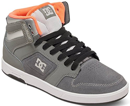 DC Argosy High SE Grey Orange Leather Womens Hi Skate Trainers-3 (Skate Dc Damen Schuhe High)