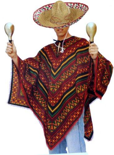 Bunter Poncho und Sombrero als Set - Mexikaner ()
