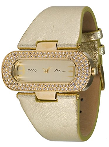 Moog Paris - Glam - Orologio femminile - Quadrante champagne in Ottone - Swarovski Elements - Cinturino Dorado in Pelle di vitello - Prodotto in Francia - M44088-006