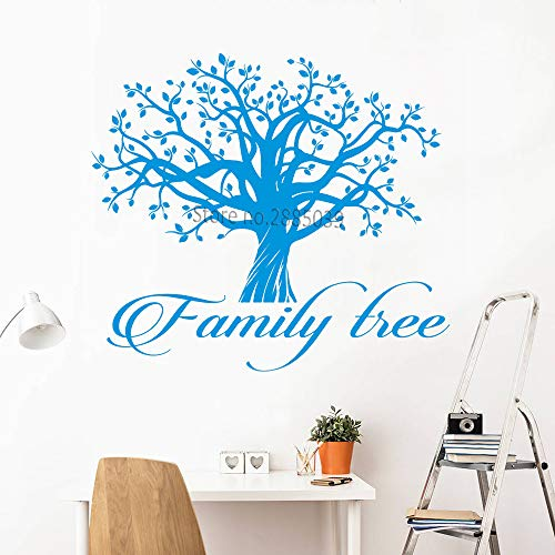 Geiqianjiumai Stammbaum Logo Vinyl Wort Zitat Leben Baum Haus Wandtattoo Aufkleber Sofa Hintergrund blau S47cmx42cm