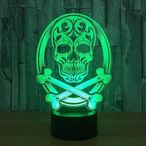 er Schädel 3D Led Lampe Atmosphäre Nachtlichter Led Lampe Touch Sensor Halloween Thema Party Wohnzimmer Schlafzimmer Tisch Schreibtisch Dekor ()