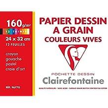 Clairefontaine - 96770C - Pochette de 12 Feuilles - Maxi Format - 24 x 32 cm - Dessin Couleur Vives