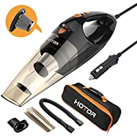 HOTOR Corded Car Vacuum Cleaner with LED Light, DC12-Volt Wet/Dry Portable Handheld Auto Vacuum Cleaner for Car,16.4 Feet (5 Meters) Power Cord with Carry Bag