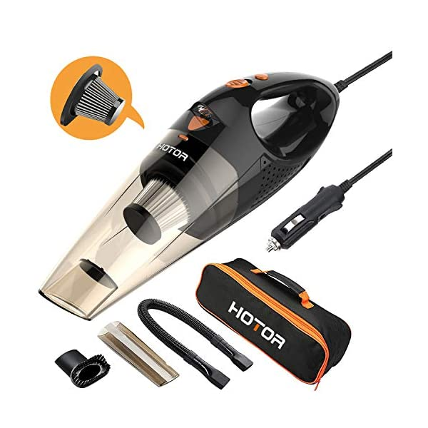 HOTOR Corded Car Vacuum Cleaner with LED Light, DC12-Volt Wet/Dry Portable Handheld Auto Vacuum Cleaner for Car,16.4… 1