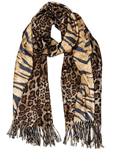 Caspar SC502 Damen XL Schal mit stylischem Leo Tiger Animal Print, Farbe:braun, Größe:Einheitsgröße