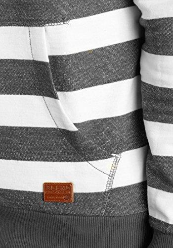 BLEND Crombie Herren Kapuzenpullover Hoodie Sweatshirt in Streifenoptik aus 100% Baumwolle Pewter Grey (75108)