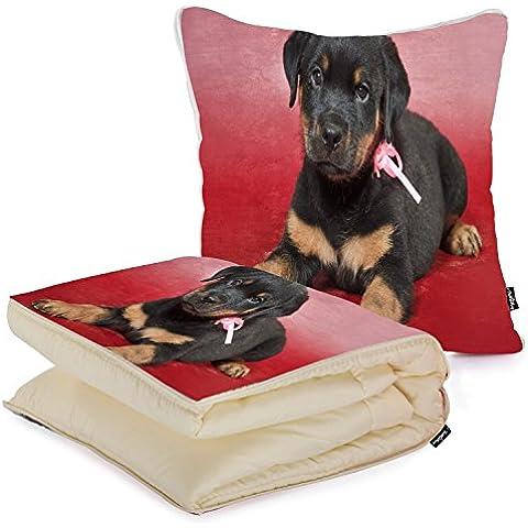 i FaMuRay Cuscino e Coperta da Viaggio, Rottweiler Puppy