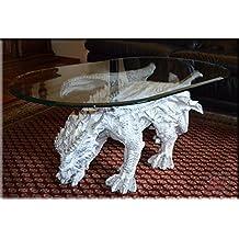 Designer Couchtisch Dragon Gothic White ArtDeco Wohnzimmertisch Tisch Glastisch