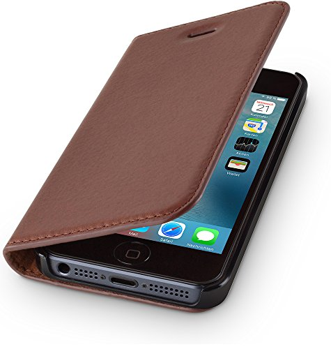 WIIUKA Echt Ledertasche - TRAVEL Nature - kompatibel für Apple iPhone 5 / 5S / SE - DEUTSCHES Leder - Vintage Braun, mit Kartenfach, extra Dünn Tasche Premium Design Leder Hülle