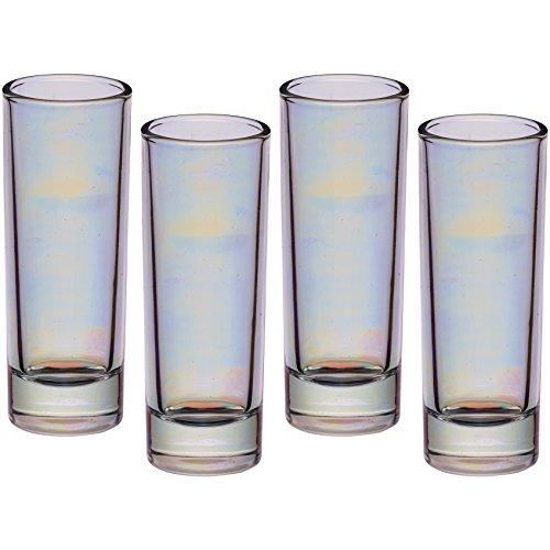 Kitchen Craft BarCraft Große Shot Gläser mit irisierendem Regenbogenschimmer, 60 ml, Mehrfarbig, 3.9 x 3.9 x 10.4 cm, 4-Einheiten