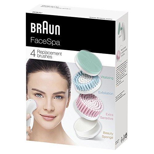 Braun FaceSpa Ersatzbürsten 80-mv, für Braun Gesichtsreinigungsgeräte, 4 Stück