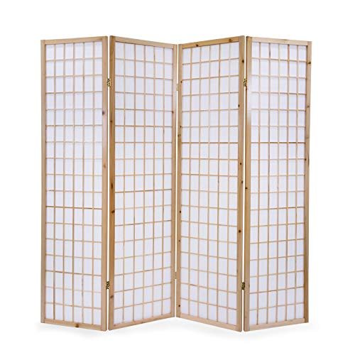 Homestyle4u 75, Paravent Raumteiler 4 teilig, Holz Natur, Reispapier Weiß, Höhe 175 cm -