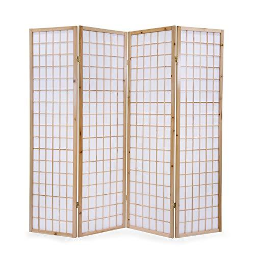 *Homestyle4u 75, Paravent Raumteiler 4 teilig, Holz Natur, Reispapier Weiß, Höhe 175 cm*