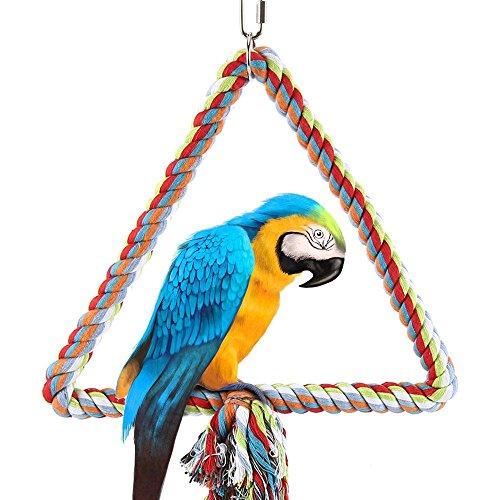 Colorful Triangle Seil Swing Papageienkäfig Toys Vogel Spielzeug Käfige Klettern Leiter für Parrot Pet Training sittichen afrikanischen Grau (Triangle Swing)